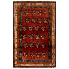 1950s Midcentury Gabbeh Rug Red and Beige-Brown Vintage Persian Floral