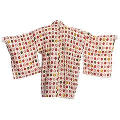 1950S Mid Century Hand Woven Japanese Ikat Silk Kimono