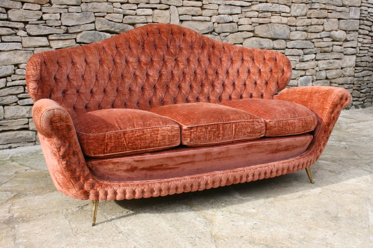 Mid-20th Century 1950s Midcentury Italian Button Back Velvet Sofa with Tapered Bronze Legs For Sale