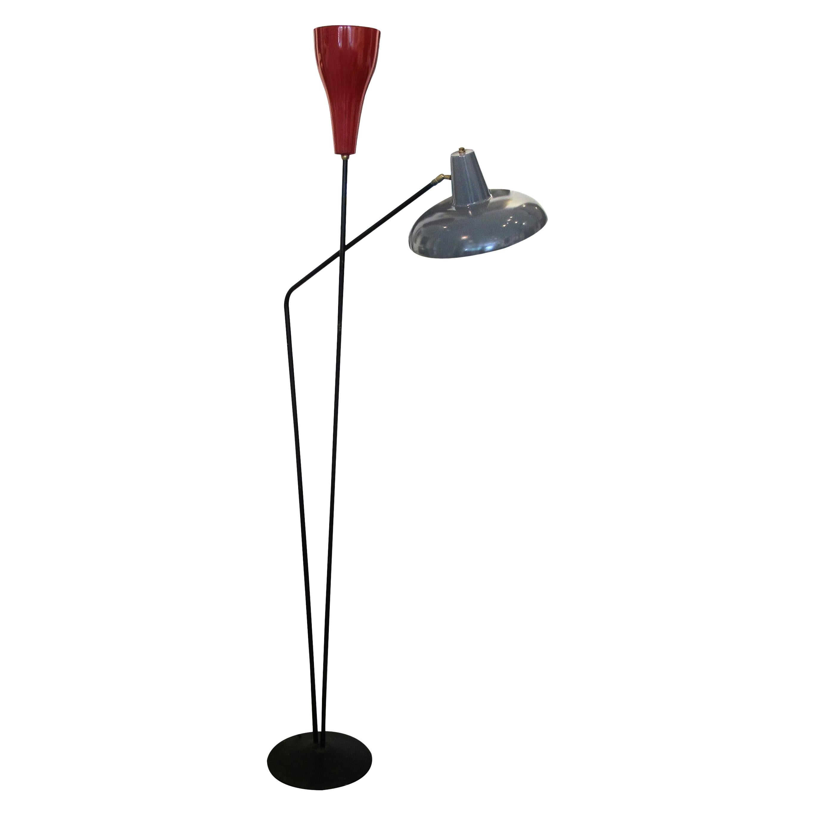 1950s Mid Century Italian Floor Lamp Two Painted Blue & Red Reflector Shades