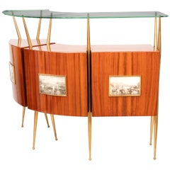 1950s Midcentury Italian Rosewood, Brass, Glass Dry Bar Attributed to Gio Ponti