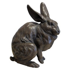 1950s Mid Century Japanese Bronzed Cast Alloy Sculpture of a Giant Rabbit