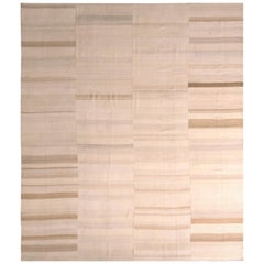 1950s Midcentury Kilim Beige Brown Paneled Striped Vintage Flat-Weave