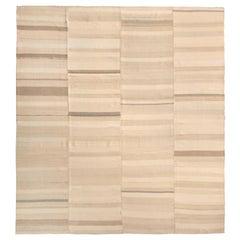 1950s Midcentury Kilim Beige Brown Paneled Striped Vintage Flat-Weave