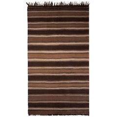 1950s Midcentury Kilim Beige Brown Striped Vintage Flat-Weave