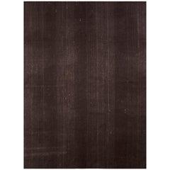 1950s Midcentury Kilim Solid Striped Brown Vintage Flat-Weave