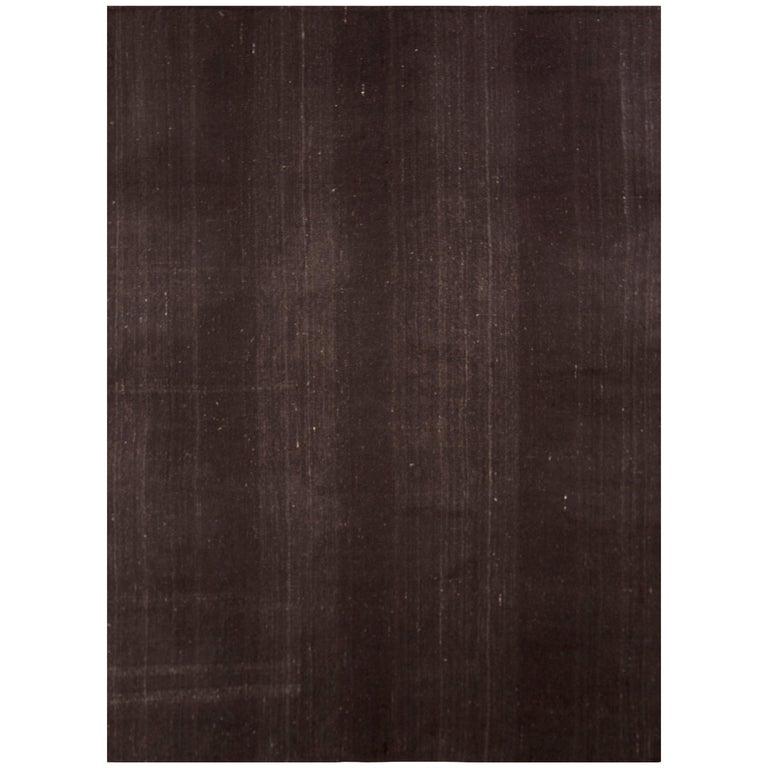 1950s Midcentury Kilim Solid Striped Brown Vintage Flat-Weave For Sale
