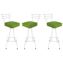 1950s Mid-century Modern Atomic Age Bar Stools that Swivel, Set of 3