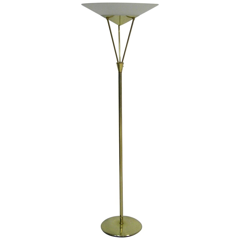 1950s Mid Century Modern Brass Torchiere Floor Lamp With Detailed