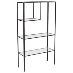 1950s Mid-Century Modern Frederick Weinberg Angle Iron & Glass Shelf Unit