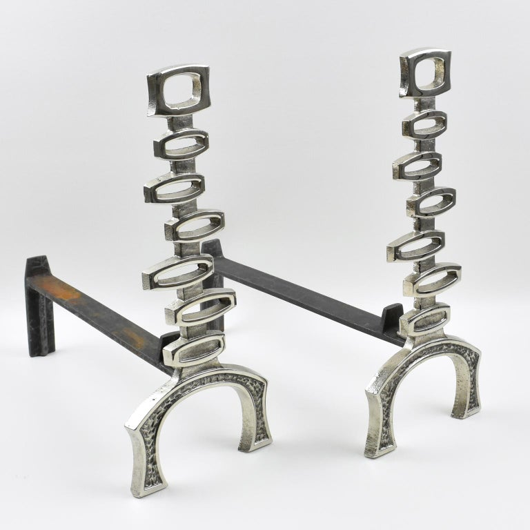 1950s Mid-Century Modern French Chromed Bronze and Wrought Iron Andirons For Sale 6
