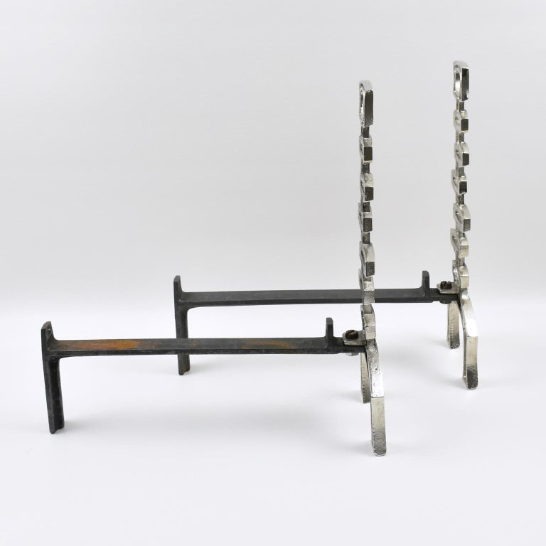 1950s Mid-Century Modern French Chromed Bronze and Wrought Iron Andirons In Excellent Condition For Sale In Atlanta, GA