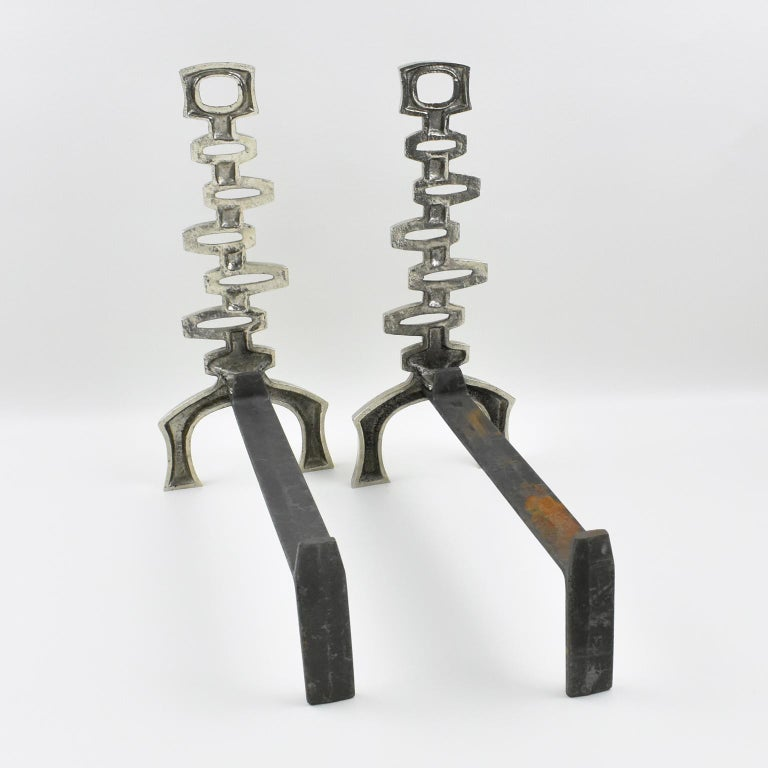Mid-20th Century 1950s Mid-Century Modern French Chromed Bronze and Wrought Iron Andirons For Sale