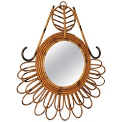 1950s Mid-Century Modern French Riviera Rattan Abstract Flower Shaped Mirror