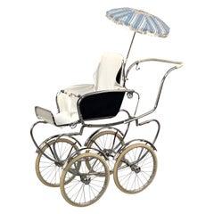 1950s Mid-Century Modern Italian Baby Carriage Pram Stroller by Giordani, Italy