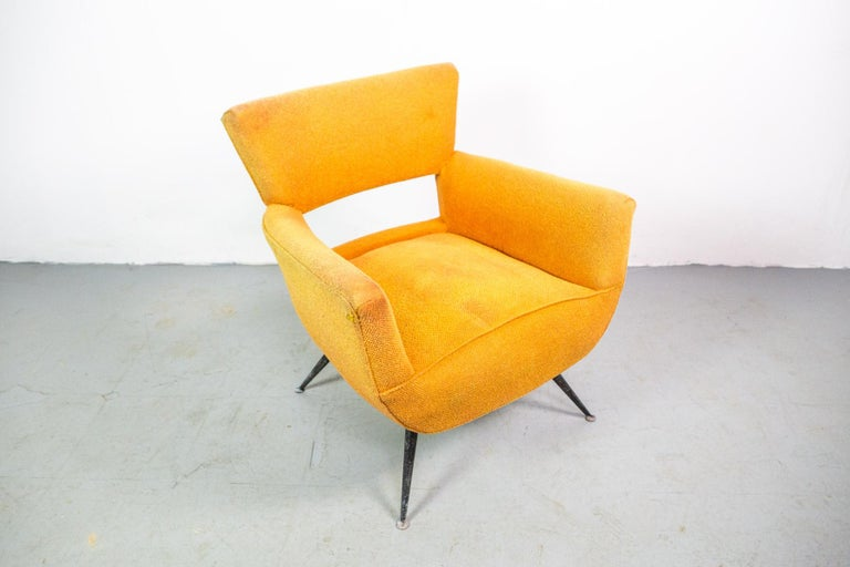 Rare single lounge chair by Henry Glass in vintage condition. New upholstery can be made by us according to your wishes.