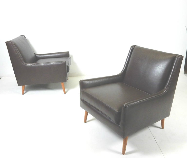 Pair of 1950s Mid-Century Modern Lounge Chairs, Edward Wormley In Good Condition For Sale In Las Vegas, NV