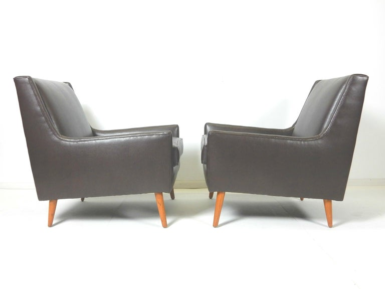 Mid-20th Century Pair of 1950s Mid-Century Modern Lounge Chairs, Edward Wormley For Sale