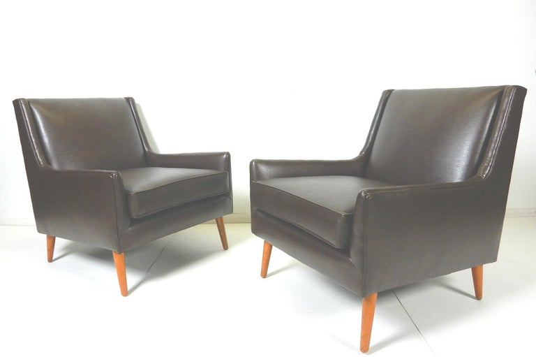 Pair of 1950s Mid-Century Modern Lounge Chairs, Edward Wormley For Sale 2