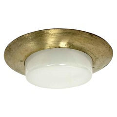 1950s Mid-Century Modern Recessed Ceiling Light Cover with Milk Glass Lens
