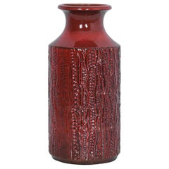 1950s Mid-Century Modern Red Ceramic Vase