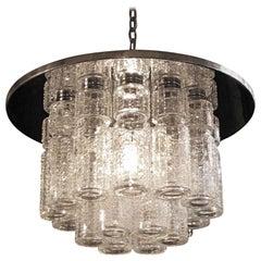 1950s Mid-Century Modern Flush Mount Light 18 Tube Clear Crystal by Lightolier