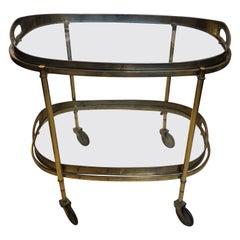 1950s Mid-Century Modern Solid Brass Italian Bar Cart