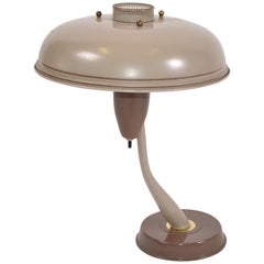 1950s Mid-Century Modern Space Age Brown Metal & Brass Flying Saucer Table Lamp