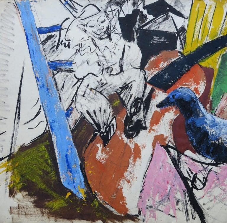 1950s Mid-Century Modern Still Life Painting New York Artist in Rattan Frame For Sale 5