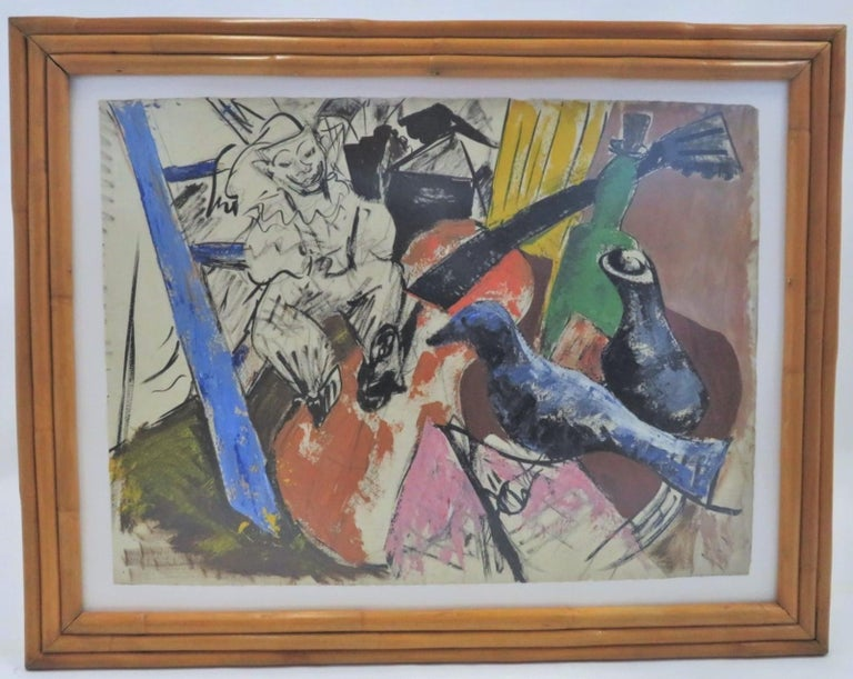 Mid-Century ModernSurreal creation by an anonymous New York artist from the 1950s. The work depicts a surreal scene with doll or puppet, bird, guitar, bottles in a palette of yellow, blues, pink, tan, brown, green with heavy black outlines. The