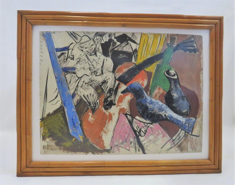 American 1950s Mid-Century Modern Still Life Painting New York Artist in Rattan Frame For Sale