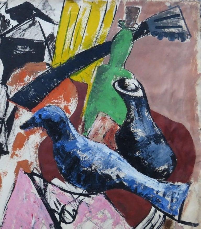 Paper 1950s Mid-Century Modern Still Life Painting New York Artist in Rattan Frame For Sale