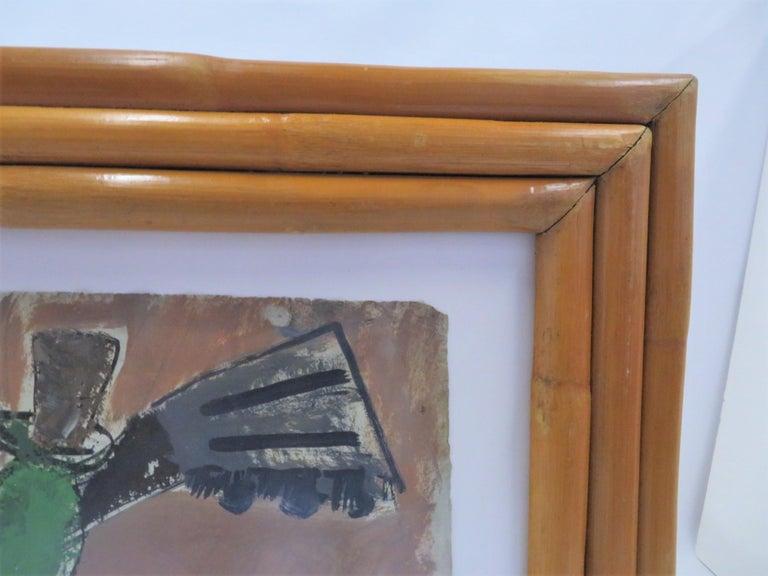 1950s Mid-Century Modern Still Life Painting New York Artist in Rattan Frame For Sale 1