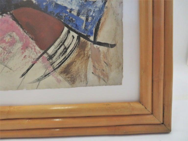 1950s Mid-Century Modern Still Life Painting New York Artist in Rattan Frame For Sale 2