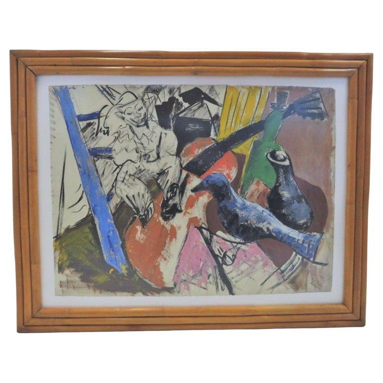 1950s Mid-Century Modern Still Life Painting New York Artist in Rattan Frame For Sale