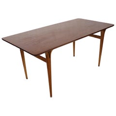 1950s Mid-Century Modern Teak and Beech Table with Cleft Legs by Bruno Mathsson