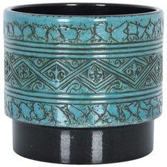 1950s Mid-Century Modern Turquoise Ceramic Planter