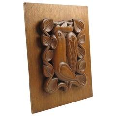 1950s Midcentury Modernist Wooden Wall Art Sculpture Panel Rooster Design