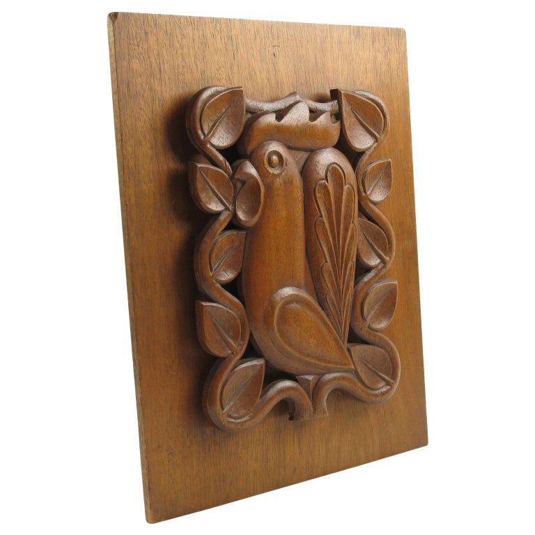 1950s Midcentury Modernist Wooden Wall Art Sculpture Panel Rooster Design For Sale