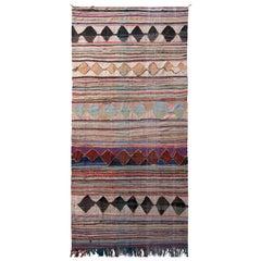 1950s Midcentury Moroccan Flat-Weave Beige Pink Striped Diamond Tribal Kilim