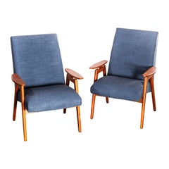 1950s Midcentury Pair of Armchairs, Blue Cotton Linen Upholstery