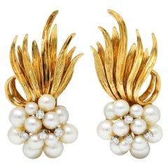 1950's Mid-Century Pearl Diamond 14 Karat Gold Cluster Ear-Clip Earrings