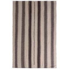 1950s Midcentury Persian Kilim Beige Brown Striped Vintage Flat-Weave