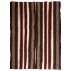 1950s Midcentury Persian Kilim Black and Beige-Brown Striped Flat-Weave