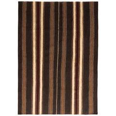 1950s Midcentury Persian Kilim Black and Beige-Brown Striped Vintage Flat-Weave