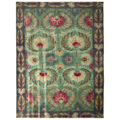 1950s Midcentury Rug Green Floral Vintage Turkish Carpet