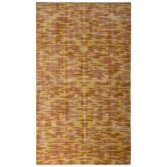 1950s Midcentury Rug Orange Yellow Vintage All-Over Pattern