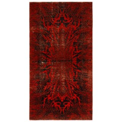 1950s Midcentury Rug Red and Black Distressed Art Deco Pattern