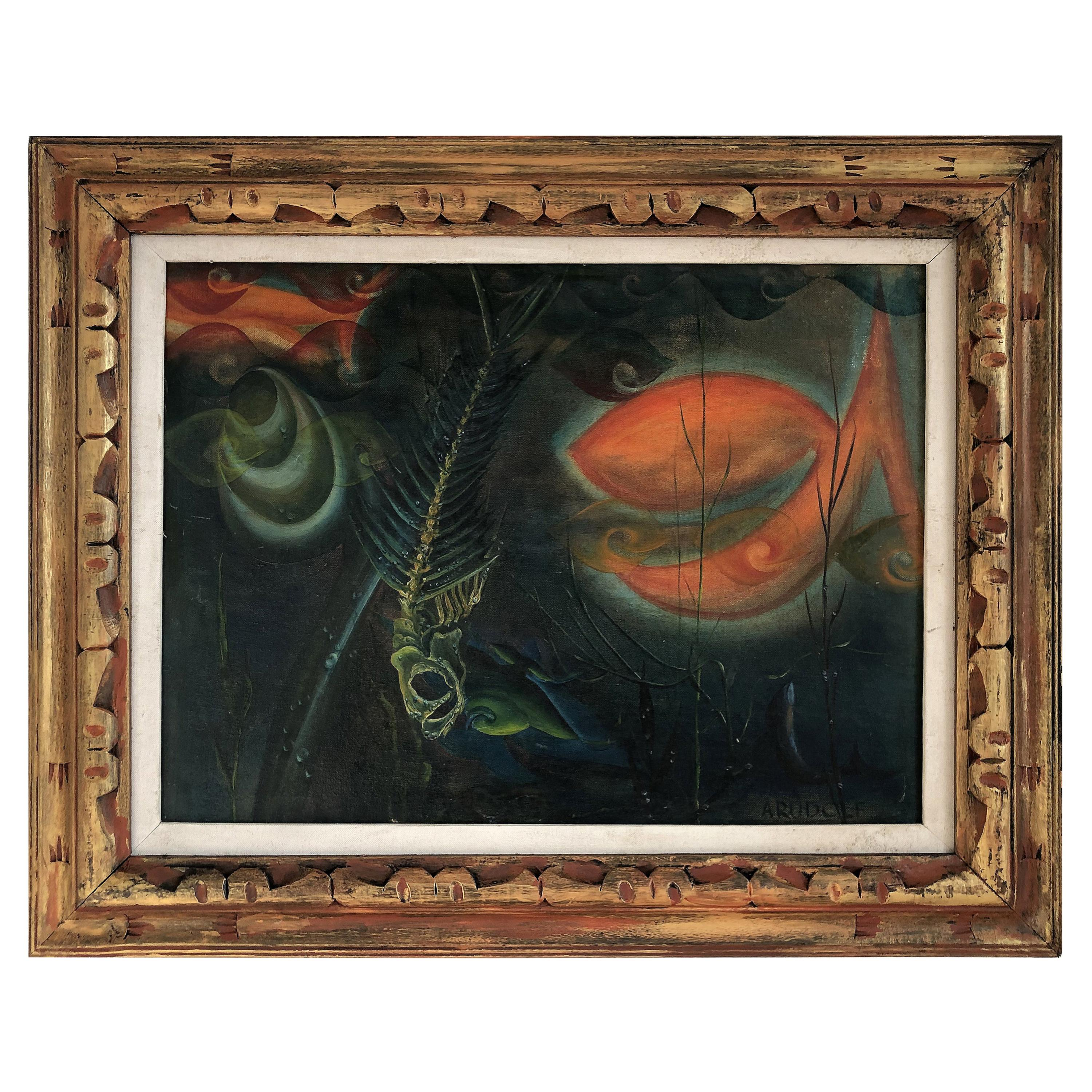 1950s Midcentury Surrealist Abstract Oil Painting, Signed