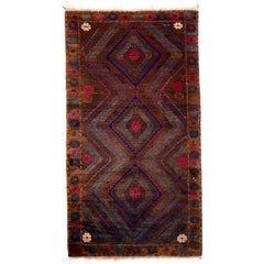 1950s Midcentury Vintage Baluch Rug Brown Blue and Pink Persian Tribal